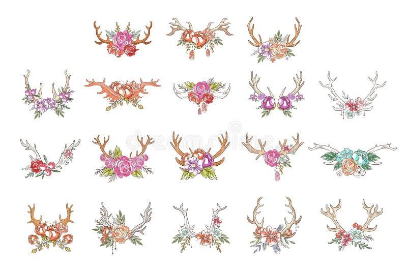 有花和植物的鹿垫铁设置了,与鹿角传染媒介例证的手拉的花卉构成在白色 库存例证
