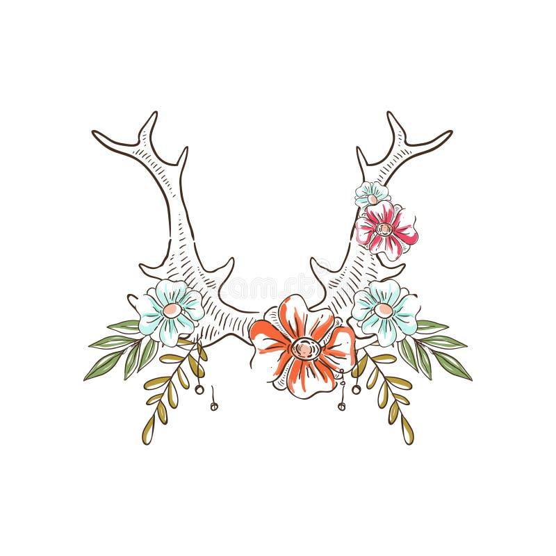 有花和植物的鹿角,与鹿垫铁的手拉的花卉构成导航在白色背景的例证 向量例证
