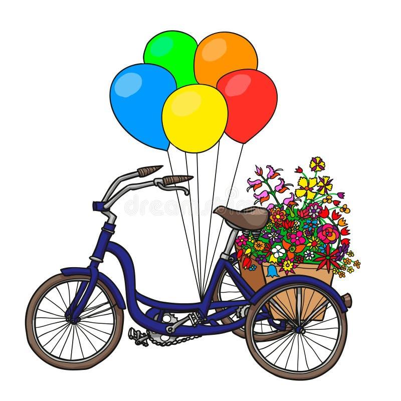 有花和气球的手拉的自行车 背景查出的白色 库存例证