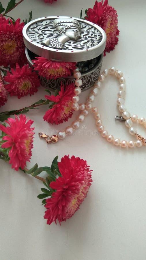 有花和珍珠的金属小箱 库存照片