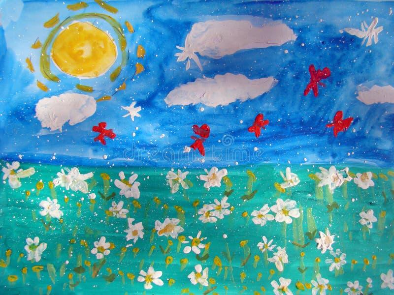 有花和蝴蝶的晴朗的草甸 皇族释放例证