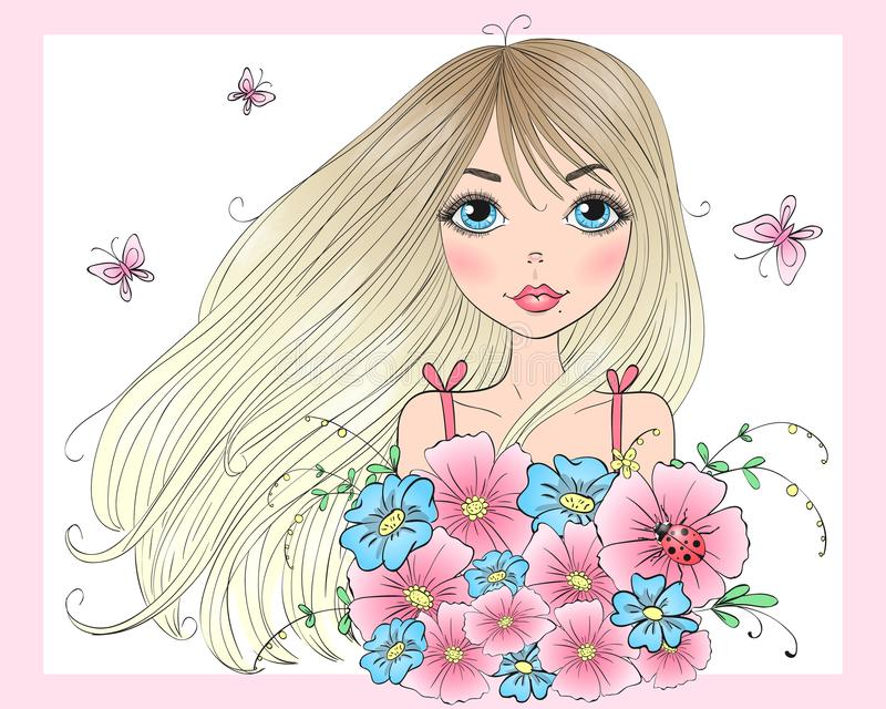 有花和蝴蝶花束的手拉的美丽的逗人喜爱的女孩  库存例证