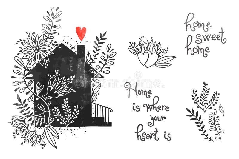 有花和题字的手拉的房子 家庭甜家是您的心脏的地方 在葡萄酒的传染媒介例证 库存例证