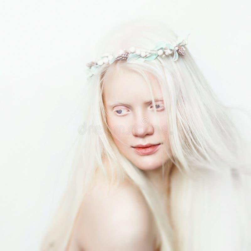 有花圈和白色长的头发的白变种女性 在轻的背景的照片面孔 白肤金发的女孩 免版税库存照片