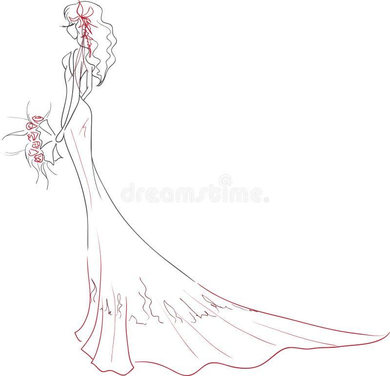有花束的典雅的新娘 库存例证