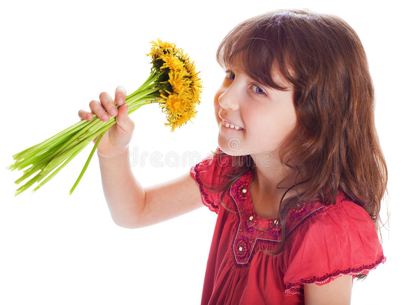 有花束的美丽的女孩 库存图片