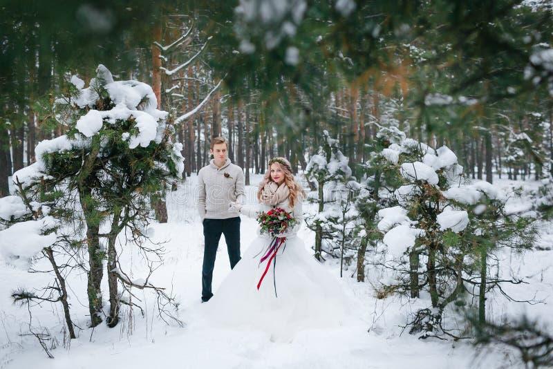 有花束的美丽的新娘和新郎在全长多雪的森林里摆在 附庸风雅 库存图片