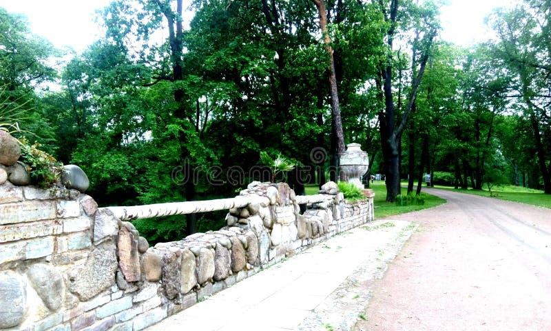 有花瓶的桥梁在夏天绿色公园 免版税库存照片