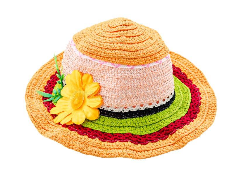 有花的五颜六色的羊毛帽子 库存照片