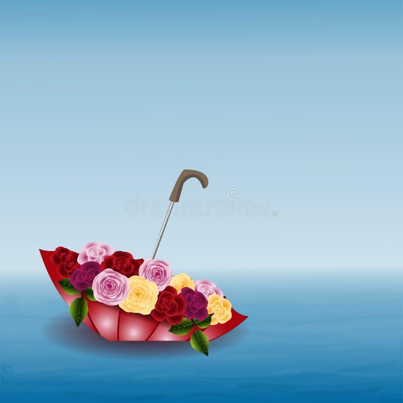 有花的伞 向量例证
