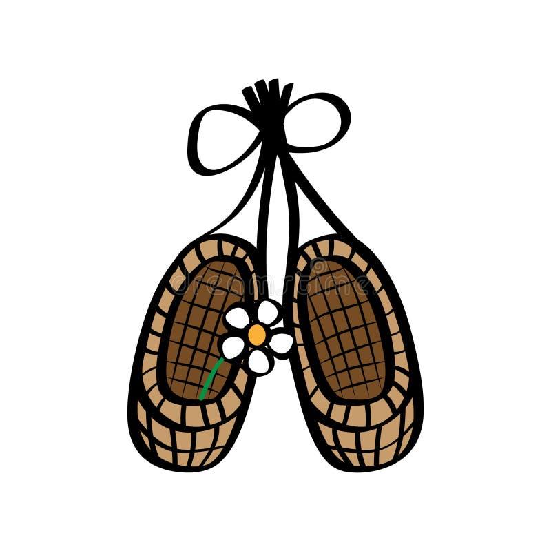 有花的俄国古老鞋子韧皮鞋子 查出的背景韧皮反对空白的鞋子 向量例证