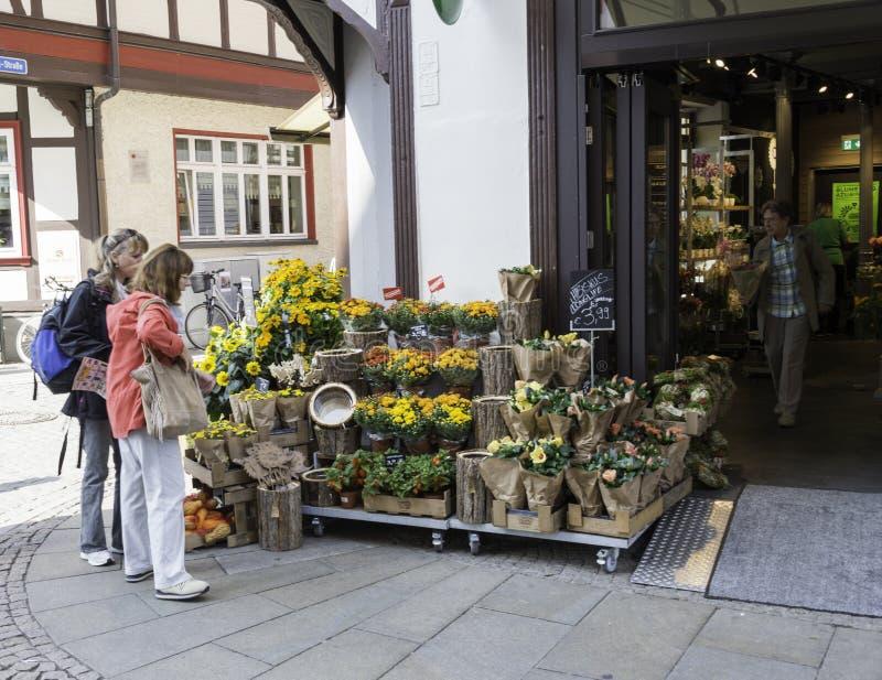 有花的商店在德国 图库摄影