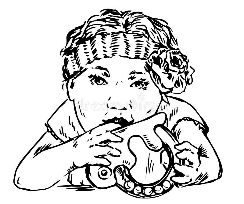 有花的女婴在头发嚼吵闹声玩具,生长牙 皇族释放例证