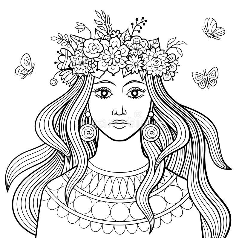 有花的女孩 皇族释放例证