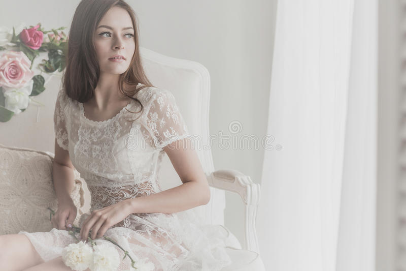 有花的新娘 图库摄影