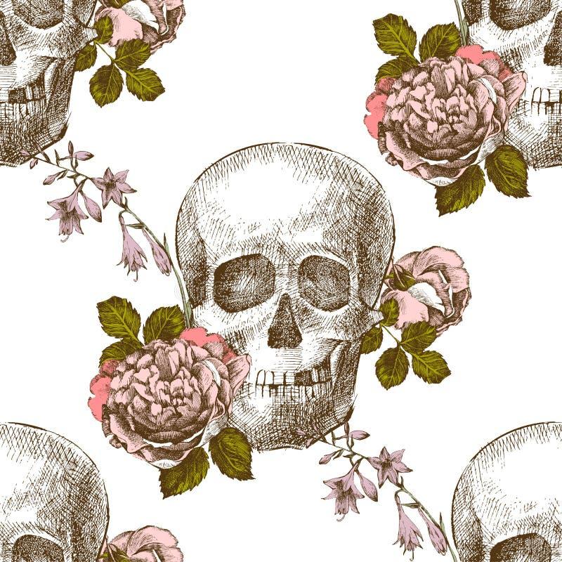 有花的无缝的样式头骨 库存例证