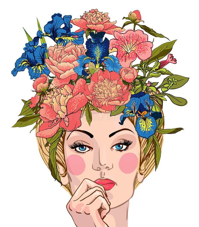有花的春天妇女她的头发 库存例证