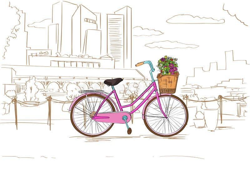 有花的桃红色减速火箭的自行车在城市剪影 向量例证