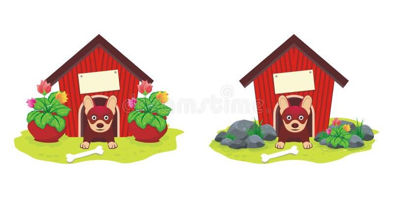 有花的犬小屋 向量例证