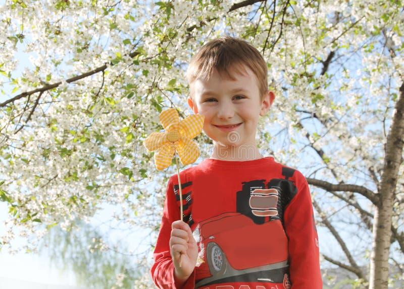 有花的男孩在春天树下 库存图片