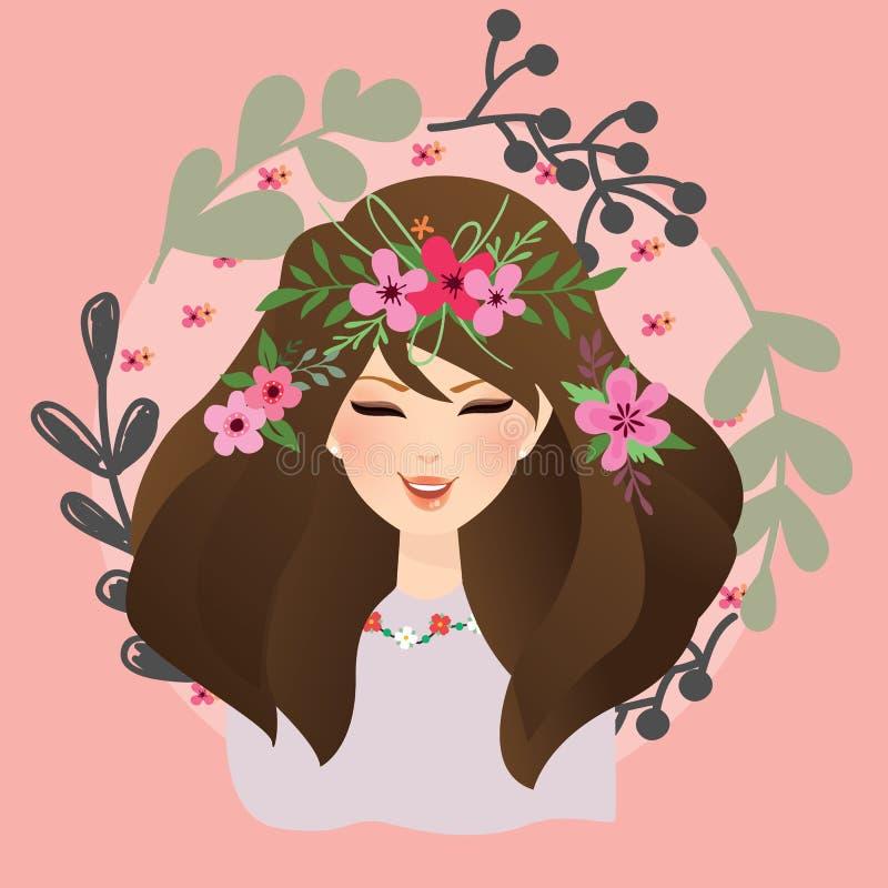 有花的美丽的女孩妇女在她的顶头漂泊吉普赛样式附近 库存例证