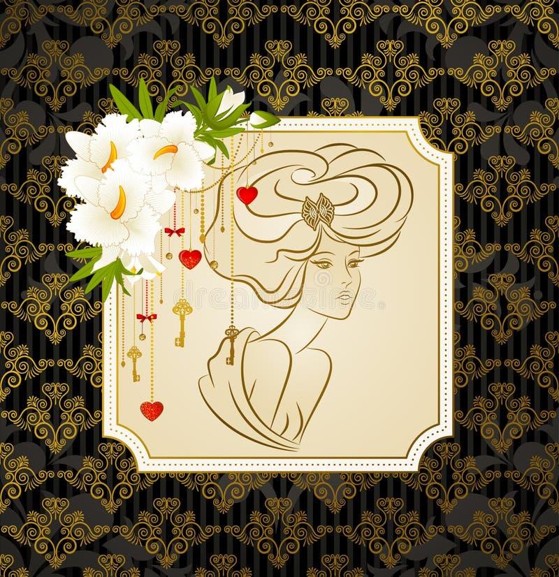 有花的美丽的妇女 皇族释放例证