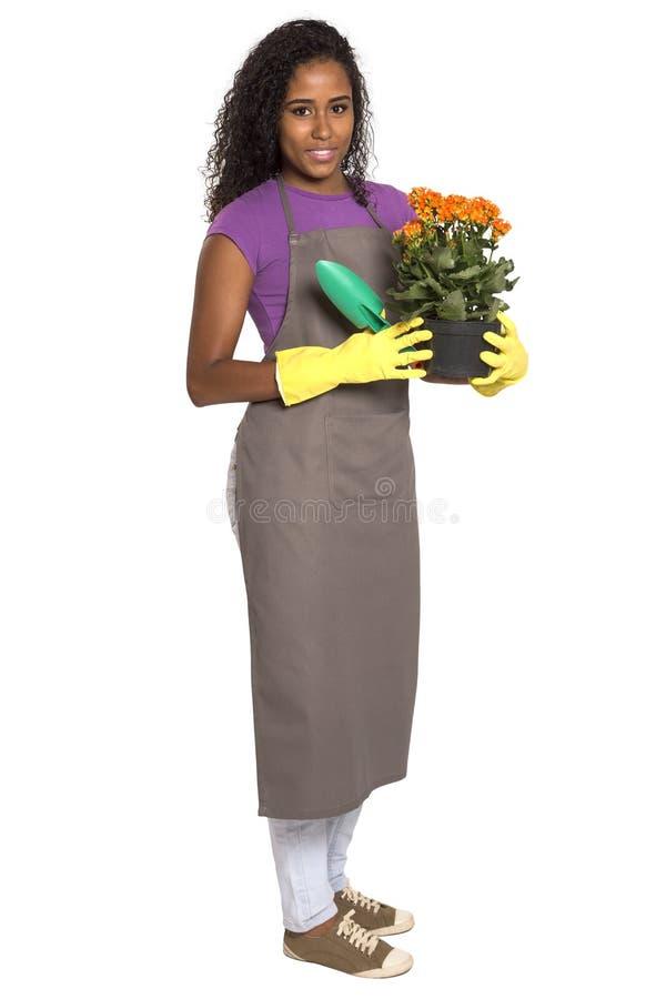 有花的美丽的非洲女孩花匠 库存图片