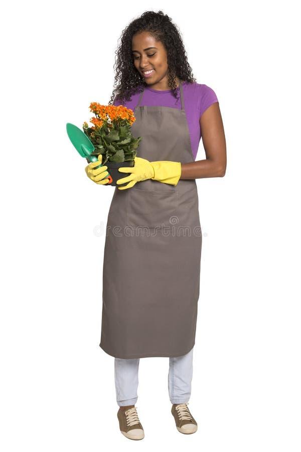 有花的美丽的非洲女孩花匠 图库摄影