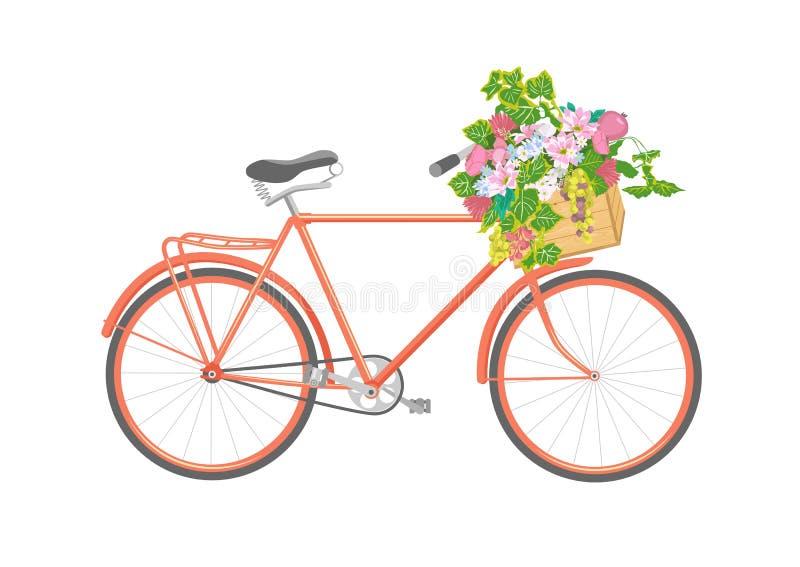 有花的自行车在箱子 例证 向量例证