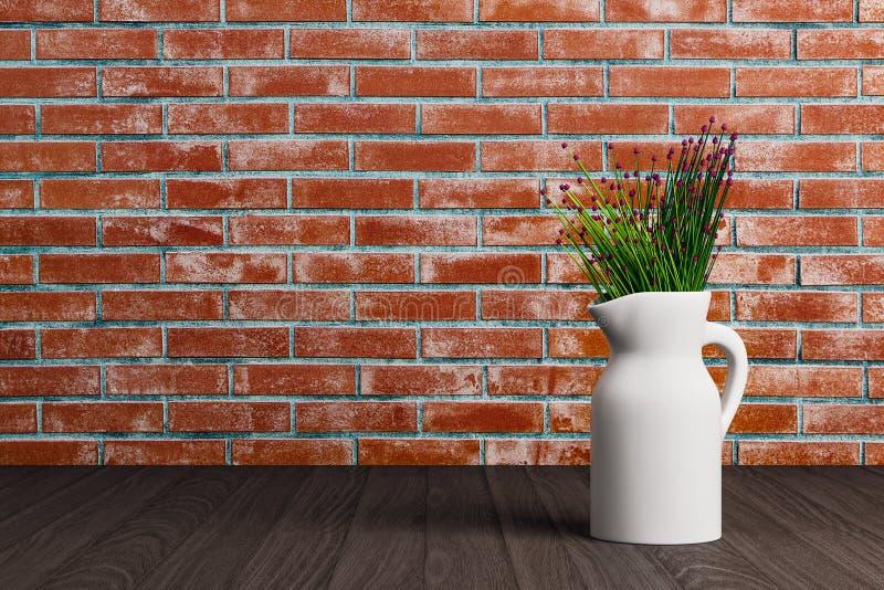 有花的花瓶在砖背景 库存例证