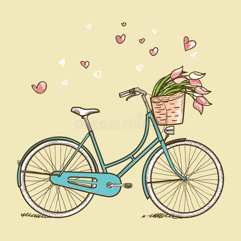 有花的葡萄酒自行车 库存例证