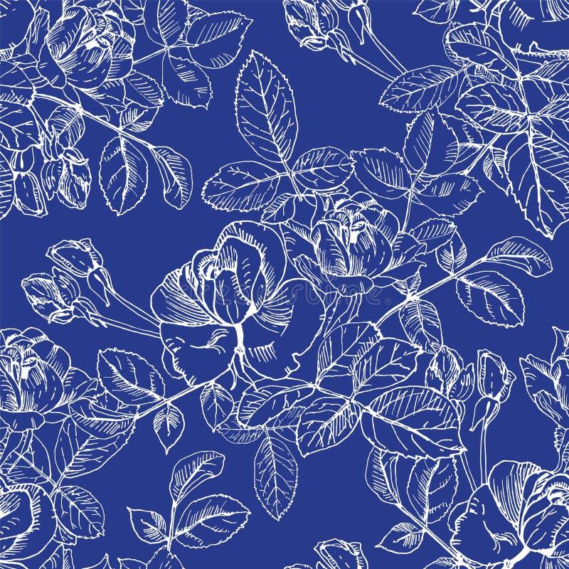 有花的野生玫瑰植物在蓝色的白色墨水 手拉的传染媒介铭刻样式无缝的表面样式 芽,叶子 向量例证