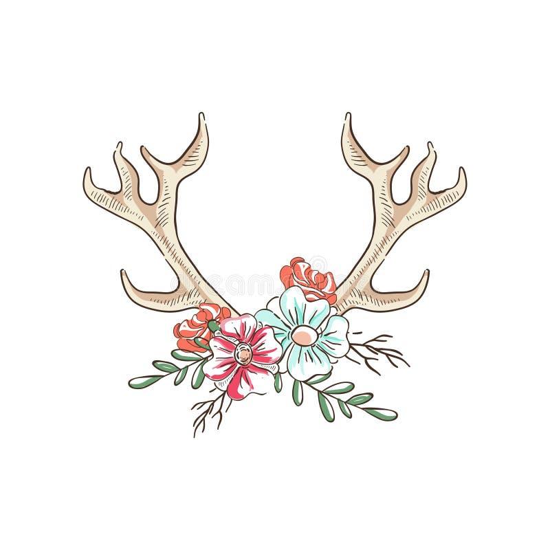 有花的鹿角,与鹿垫铁的手拉的花卉构成导航在白色背景的例证 皇族释放例证