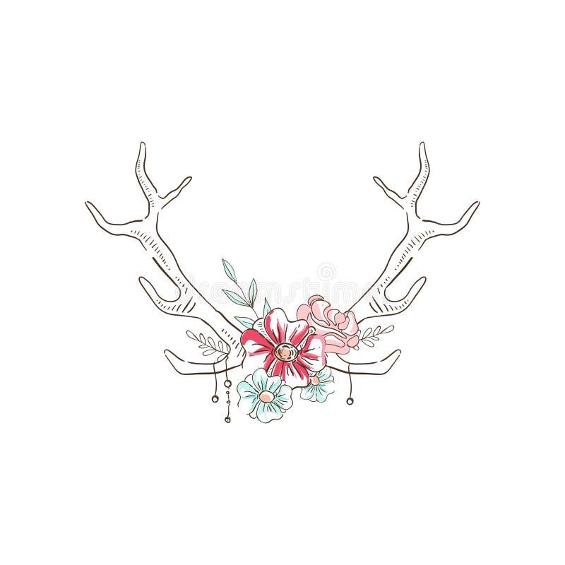 有花的鹿角,与鹿垫铁的手拉的花卉构成导航在白色背景的例证 向量例证