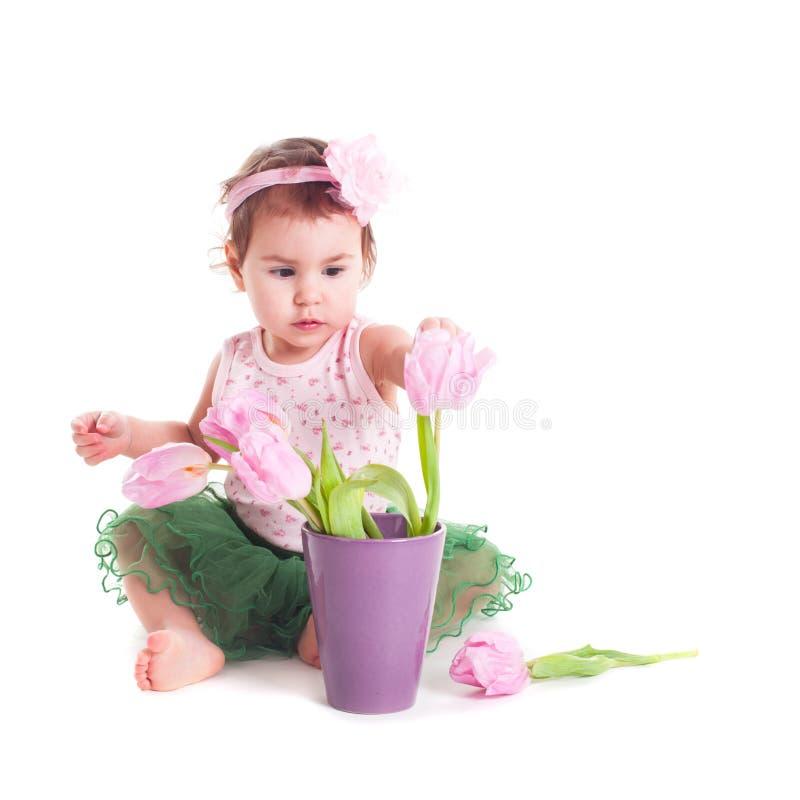 有花的婴孩 库存照片
