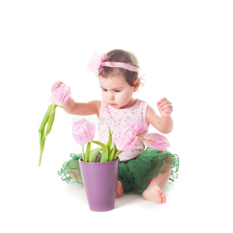 有花的婴孩 库存图片