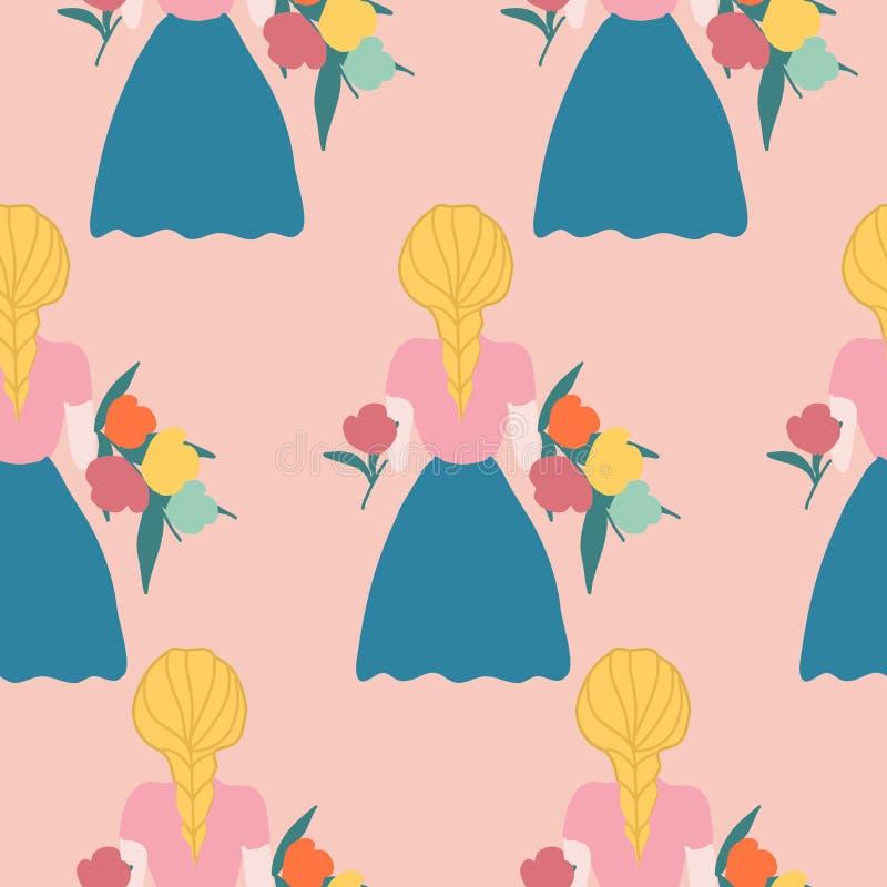 有花的Boho女孩在一个无缝的样式设计 库存例证
