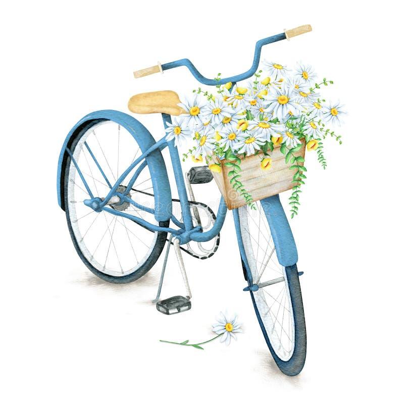 有花篮子的水彩蓝色自行车 库存照片
