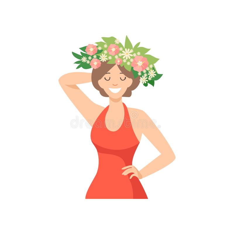 有花花圈的年轻美女在她的愉快的典雅的女孩头发、画象有花卉花圈的和红色礼服 向量例证