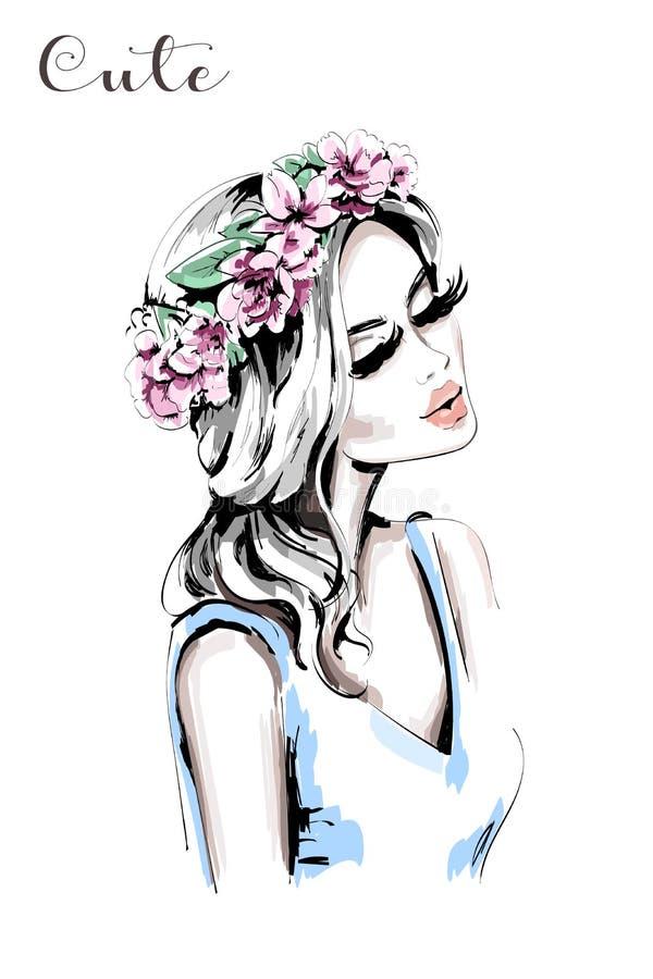 有花花圈的美丽的妇女在她的头发 手拉的逗人喜爱的女孩 方式妇女 向量例证