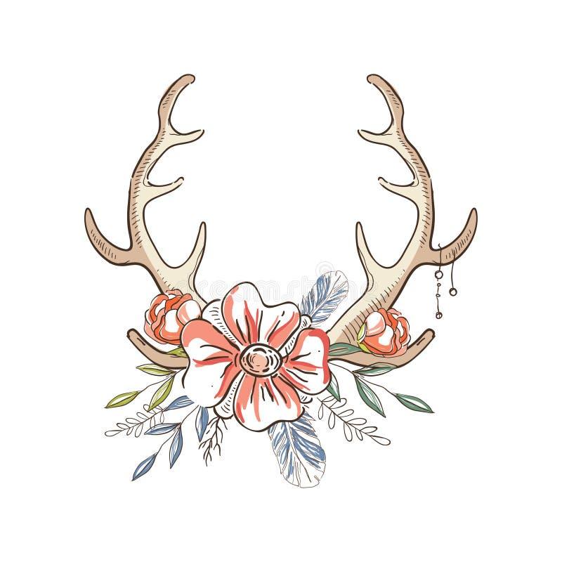 有花花圈的鹿角,与鹿垫铁的手拉的花卉构成导航在白色的例证 皇族释放例证