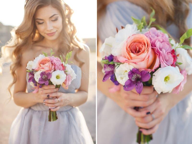 有花花束的拼贴画新娘在一套婚礼礼服的在海附近 库存照片