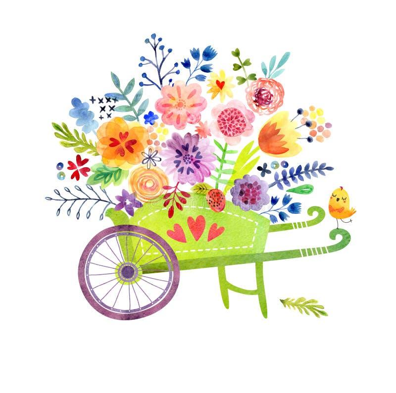 有花逗人喜爱的水彩卡片的独轮车 库存例证