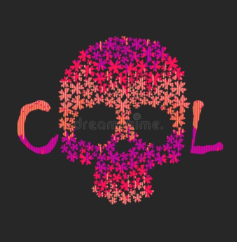 有花饰的亡灵节五颜六色的头骨 库存例证
