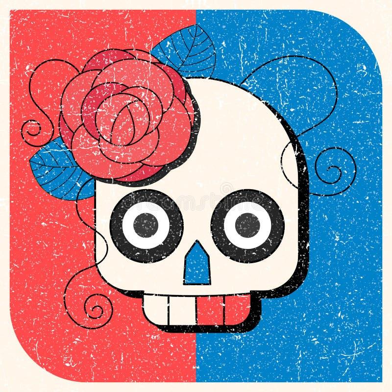 有花饰的亡灵节头骨 库存例证