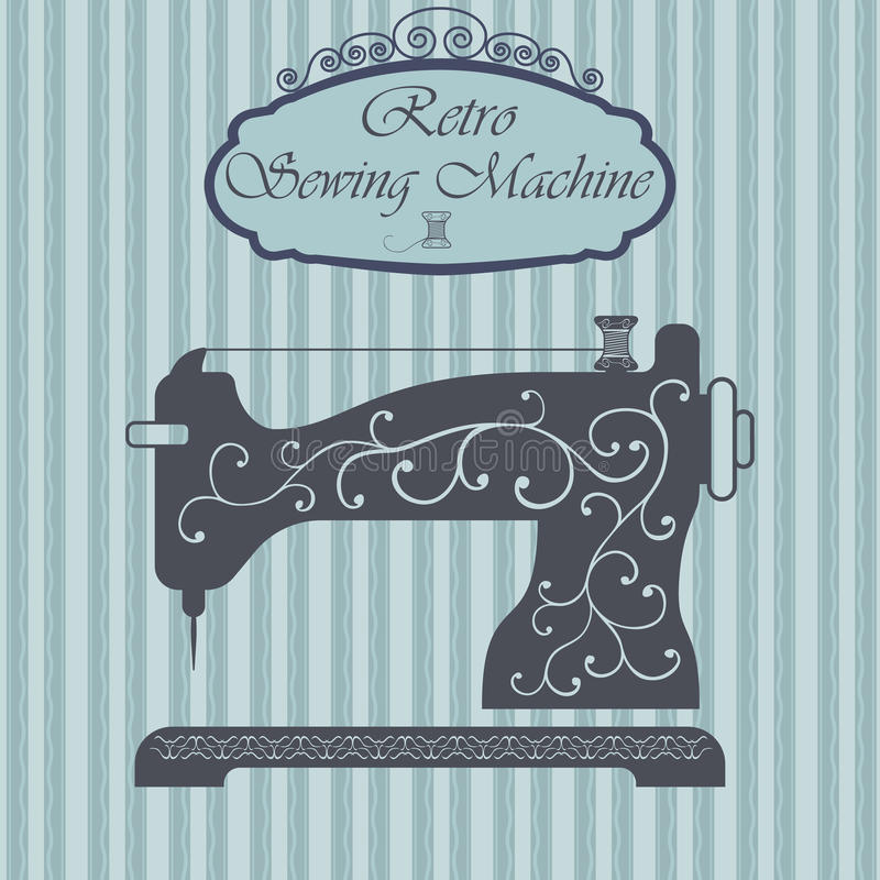有花饰的减速火箭的缝纫机在行家背景 葡萄酒标志设计 老时尚题材标签 向量例证