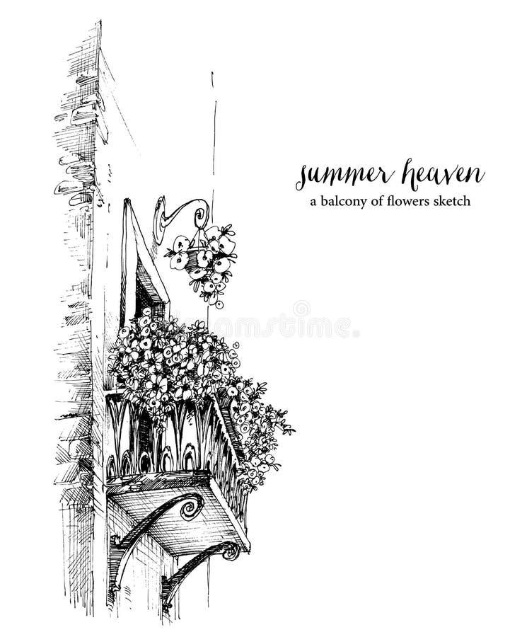 有花画的阳台 皇族释放例证