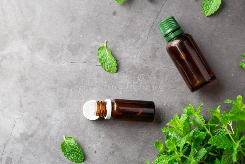 有芳香疗法油和薄荷的叶子的瓶 免版税图库摄影