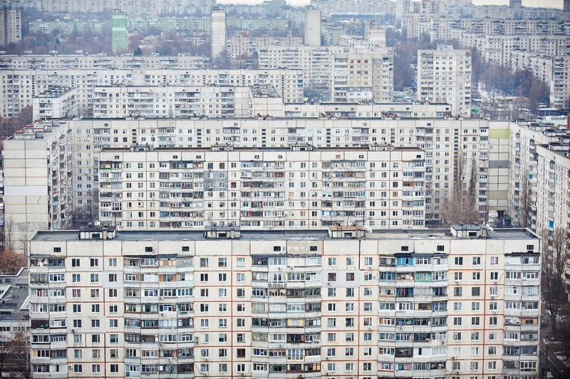 有苏联公寓的住宅区在哈尔科夫,乌克兰 库存照片
