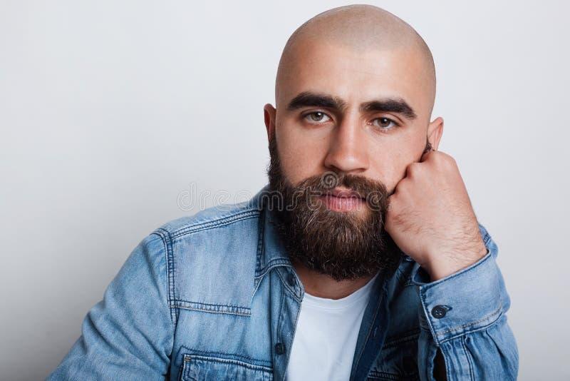 有英俊的秃头的人一个水平的特写镜头迷人的黑眼睛、厚实的黑眼眉和胡子佩带的举行斜纹布的衬衣喂 免版税图库摄影